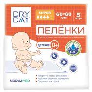"""Пелёнки одноразовые детские """"DryDay. Super"""" (5 шт.; 600х600 мм) (10324301)"""
